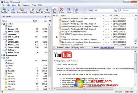 Ekrano kopija Mozilla Thunderbird Windows 7