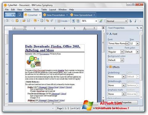 Ekrano kopija Lotus Symphony Windows 7