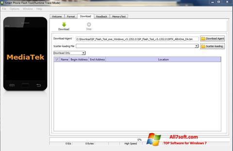Ekrano kopija FlashTool Windows 7
