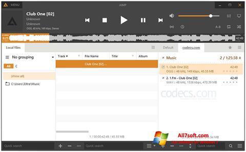 Ekrano kopija AIMP Windows 7