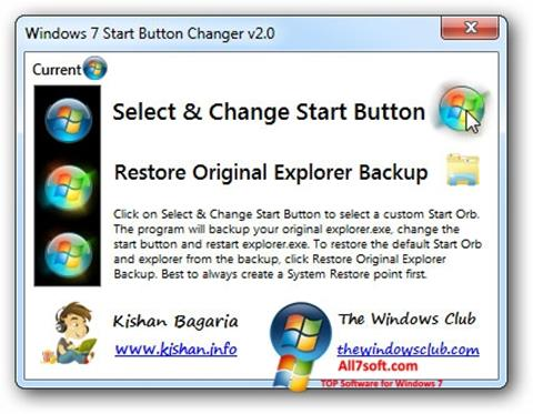 Ekrano kopija Windows 7 Start Button Changer Windows 7