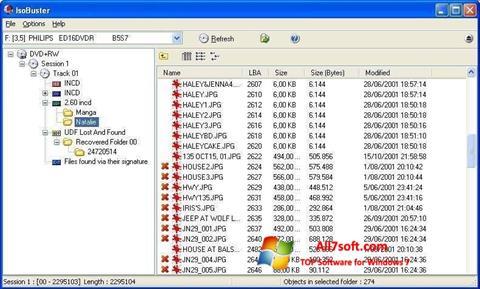 Ekrano kopija IsoBuster Windows 7